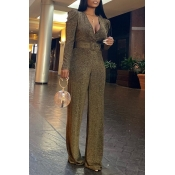 Lovely Chic Loose Gold One-piece Jumpsuit
