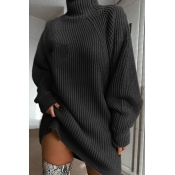 Lovely Casual Turtleneck Dark Grey Mini Dress