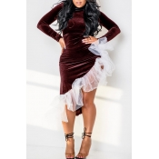 Lovely Sweet Asymmetrical Patchwork Wine Red Ankle