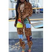 Lovely Trendy Patchwork Leopard One-piece Jumpsuit