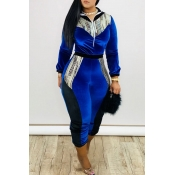 Lovely Stylish Patchwork Blue One-piece Jumpsuit