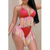 Lovely Tassel Design Red Two-piece Swimsuit