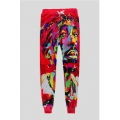 Lovely Casual Portrait Printed Red Pants