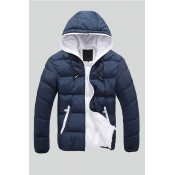 Lovely Casual Zipper Design Navy Blue Cotton-padded Clothe