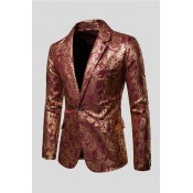 Lovely Chic Turndown Collar Printed Red Formal Wear