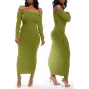Lovely Chic Bandage Design Green Ankle Length Dres