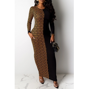Lovely Casual Patchwork Black Ankle Length Dress