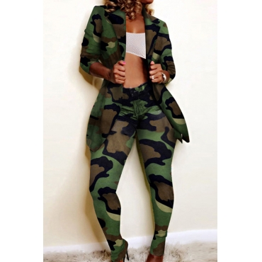 Lovely Street Turn-back Collar Camouflage Printed Two-piece Pants Set