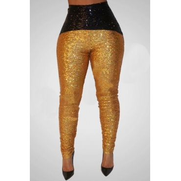 Lovely Casual Patchwork Sequined Gold Pants