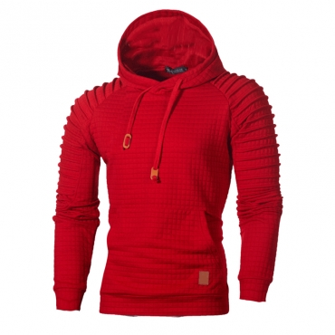 Lovely Casual Hooded Collar Ruffle Design Red Hoodie