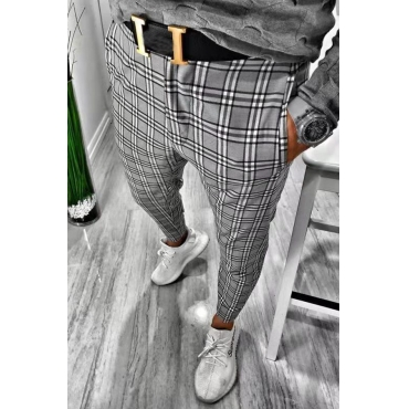 Lovely Casual Plaid Printed Black And White Pants