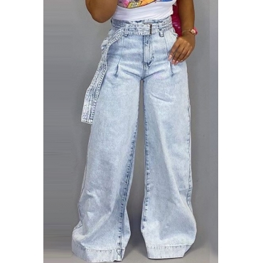 Lovely Trendy Loose Baby Blue Jeans