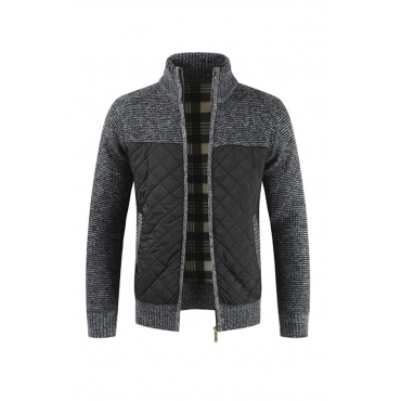 Lovely Casual Patchwork Dark Grey Coat