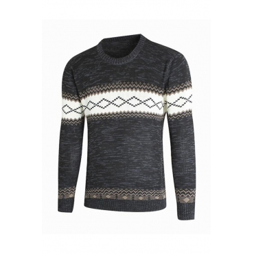 Lovely Casual Geometric Black Sweater