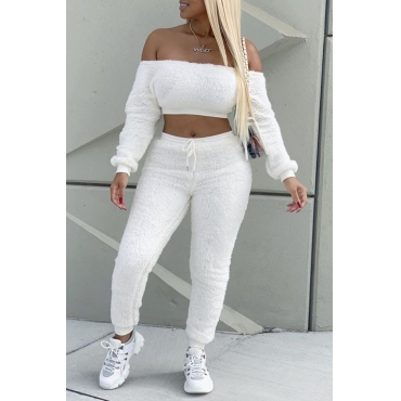 Lovely Trendy Crop Top White Two-piece Pants Set