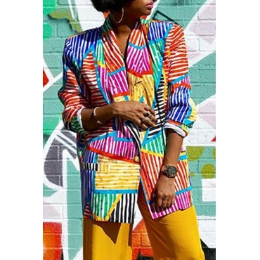Lovely Casual Striped Patchwork Multicolor Coat