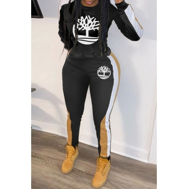 Lovely Casual Hooded Collar Printed Black Two-piece Pants Set