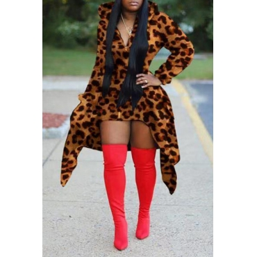 Lovely Casual Hooded Collar Leopard Printed Hoodie