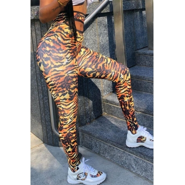 Lovely Casual Printed Tiger Stripes Leggings