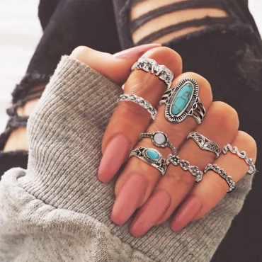 Lovely Trendy 10-piece Make Old Silver Ring