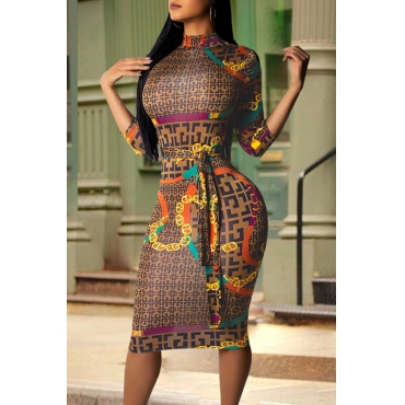 Lovely Casual Printed Skinny Brown Knee Length Dress
