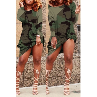 Lovely Casual Camouflage Printed Green Knee Length Dress