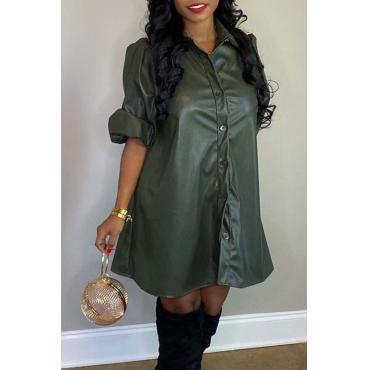 Lovely Casual Turndown Collar Army Green Mini Dress