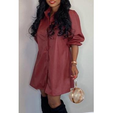 Lovely Casual Turndown Collar Wine Red Mini Dress