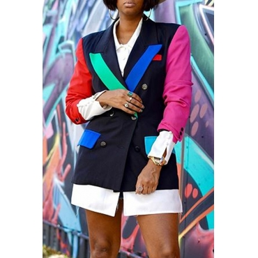 Lovely Casual Color-lump Patchwork Black Blazer
