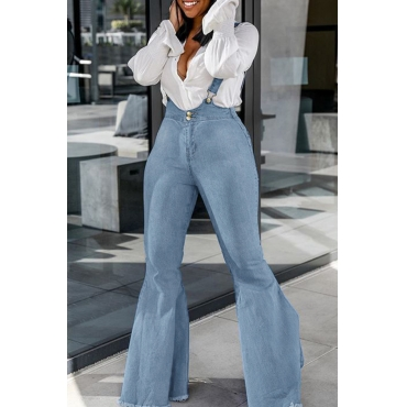 Lovely Casual Backless Baby Blue One-piece Jumpsuit