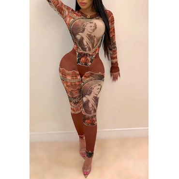 Lovely Trendy Hollow-out Printed Brown One-piece Jumpsuit