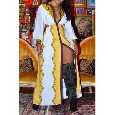 Lovely Casual V Neck Printed Yellow Floor Length Dress