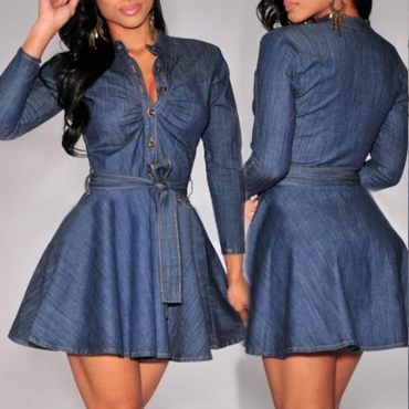 Lovely Casual Buttons Design Blue Mini Dress