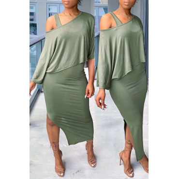 Lovely Trendy Hollow-out Green Two-piece Skirt Set