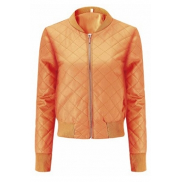 Lovely Casual Zipper Design Orange Coat