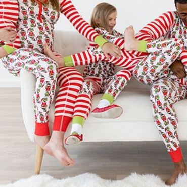 Lovely Family Striped Printed Red Mother Two-piece Pants Set