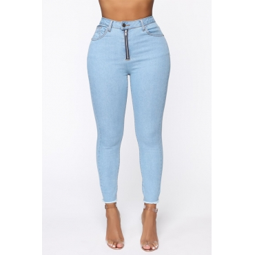 Lovely Casual Buttons Design Skinny Baby Blue Jeans