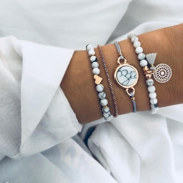 Lovely Trendy 4-piece White Bracelet