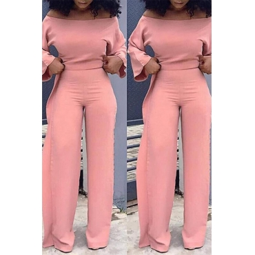 Lovely Leisure Loose Flounce Design Pink One-piece Jumpsuit