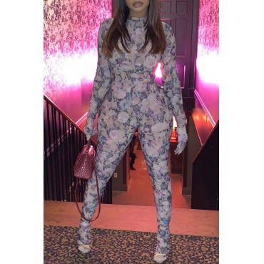 Lovely Trendy Printed Skinny Grey One-piece Jumpsuit