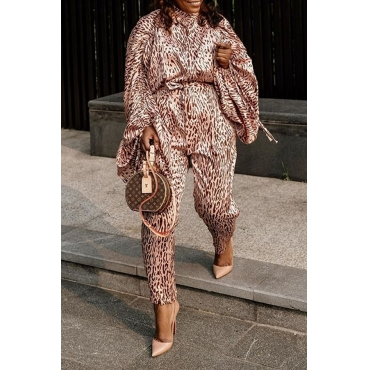 Lovely Trendy Leopard Printed Plus Size Two-piece Pants Set