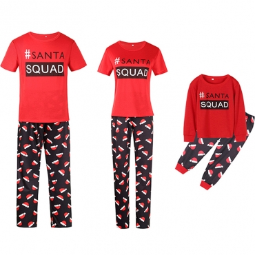 Lovely Family Letter Printed Red Mother Two-piece Pants Set