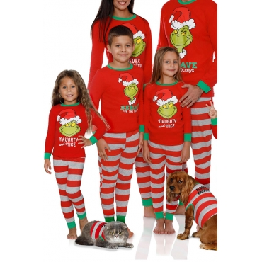 Lovely Family Santa Claus Striped Red Mother Two-piece Pants Set