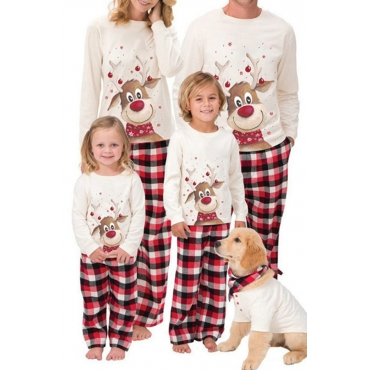 Lovely Family Christmas Deer Printed Creamy White Mother Two-piece Pants Set