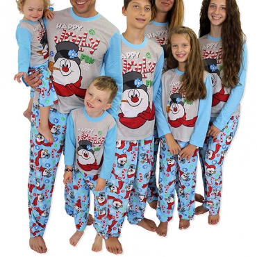 Lovely Family Santa Claus Printed Blue Mother Two-piece Pants Set
