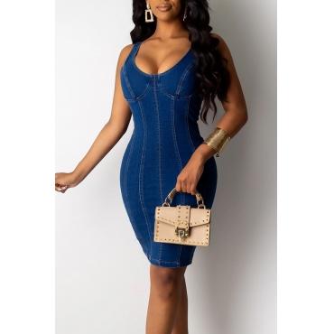 Lovely Casual U Neck Skinny Blue Mini Dress