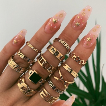 Lovely Trendy 13-piece Gold Metal Ring