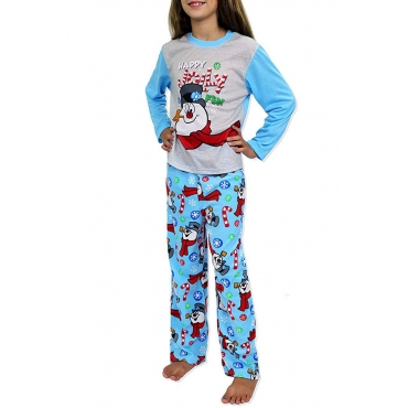 Lovely Family Santa Claus Printed Blue Kids Two-piece Pants Set