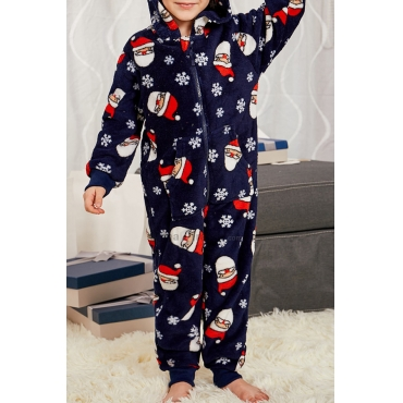 Lovely Family Printed Dark Blue Kids One-piece Jumpsuit