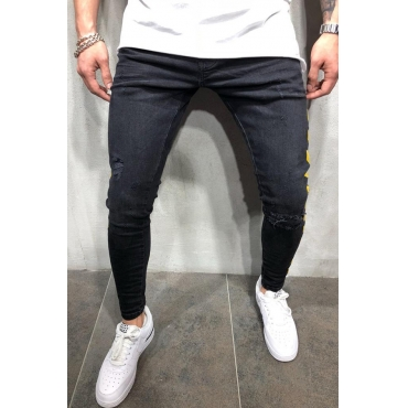 Lovely Street Patchwork Skinny Black Jeans